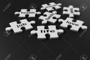 16950703-La-vie-est-comme-une-vie-puzzle-se-compose-de-nombreux-l-ments-rendu-3d-Banque-d'images